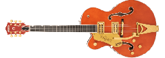 Gretsch  G6120TG-LH Players Edition Nashville® Hollow Body with String-Thru Bigsby® and Gold Hardware, Left-Handed, Ebony Fingerboard, Orange Stain ~ Due November