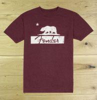 Fender Bear T Shirt Burgundy Medium