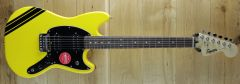 Squier FSR Bullet® Competition Mustang® HH, Laurel Fingerboard, Black Pickguard, Graffiti Yellow with Black Stripes