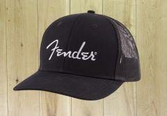 Fender Silver Logo Snapback Hat Black