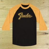 Fender Doodle 3/4 Sleeve Raglan Shirt Black & Yellow Large