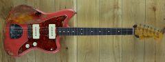 Fender Custom Shop Carlos Lopez Masterbuilt 62 Jazzmaster Heavy Relic Fiesta Red over 3 Tone Sunburst R111018