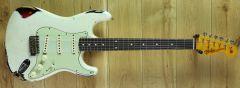 Fender Custom Shop Yuriy Shishkov Masterbuilt 59 Strat Relic Olympic White over 3 Colour Sunburst YS2862